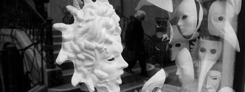 Venice-Carnival masks, black & white landscape photo