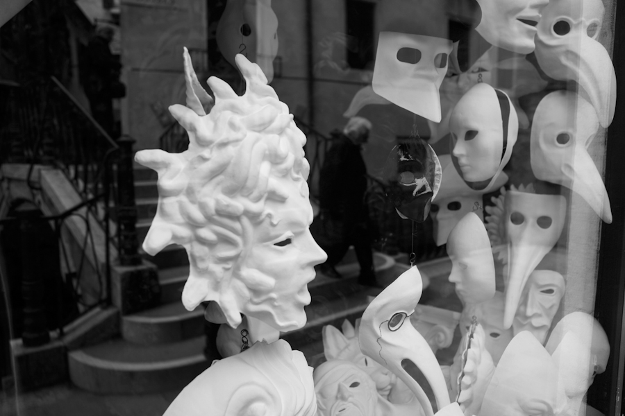 Venice-Carnival masks, black & white landscape photo