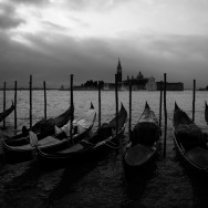 Venice - Gondole moored at St. Mark's jetty, black and white landscape photo