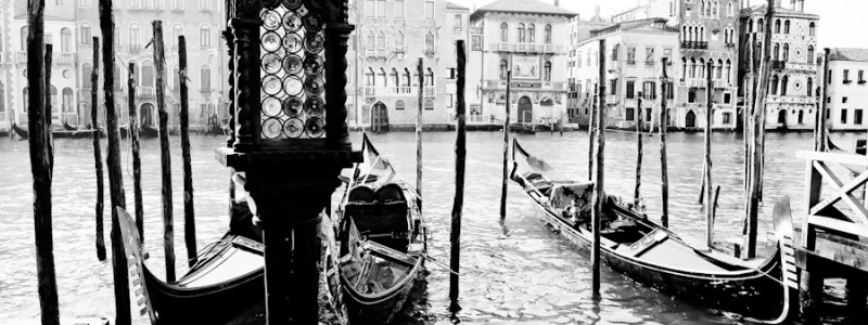 Venice, Italy - Gondolas moored on Grand Canal, black and white photo
