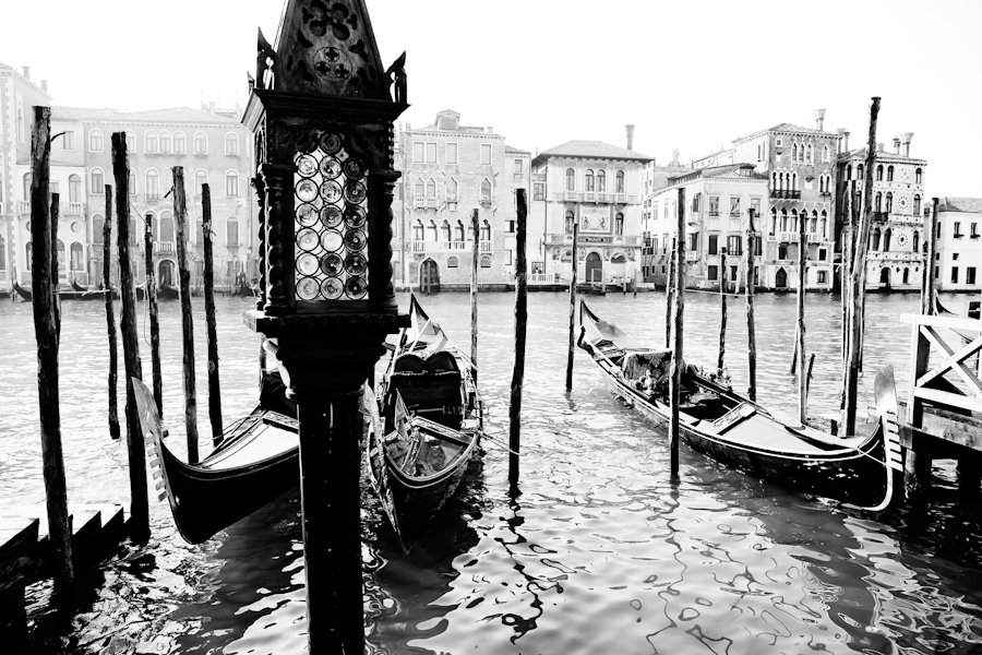 Venice gondolas moored on grand canal black and white
