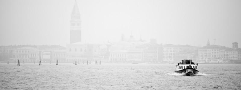 Venice, Italy - mist on St. Mark's basin, black and white landscape photo