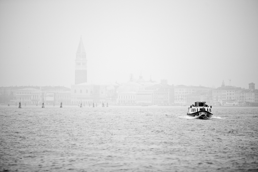 Venice, Italy - mist on St. Mark's basin, black and white landscape photo