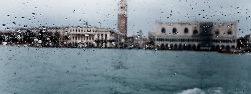 Venice-A view of Doge's Palace seen from the lagoon, color landscape photo
