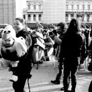Venice-kid in carnival costume in St. Mark's square, black & white landscape photo