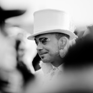 Venice-Man in top hat for Carnival in St. Mark's Square, black & white landscape photo