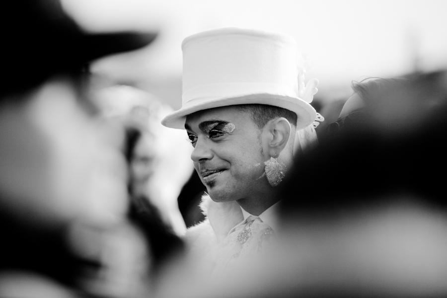 Venice-Man in top hat for Carnival in St. Mark's Square, black & white landscape photo