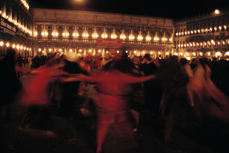 Venice-Ring Around the Rosy in St. Mark's square at Carnival, color landscape photo