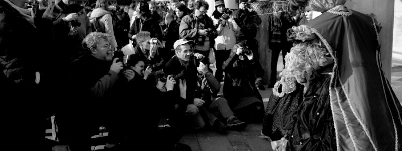Venice-Photographers shooting at Carnival masks in St. Mark's square, black & white landscape photo