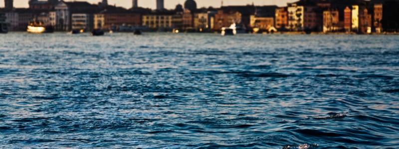 Venice-color landscape photo of Riva degli Schiavoni waterfront at sunset