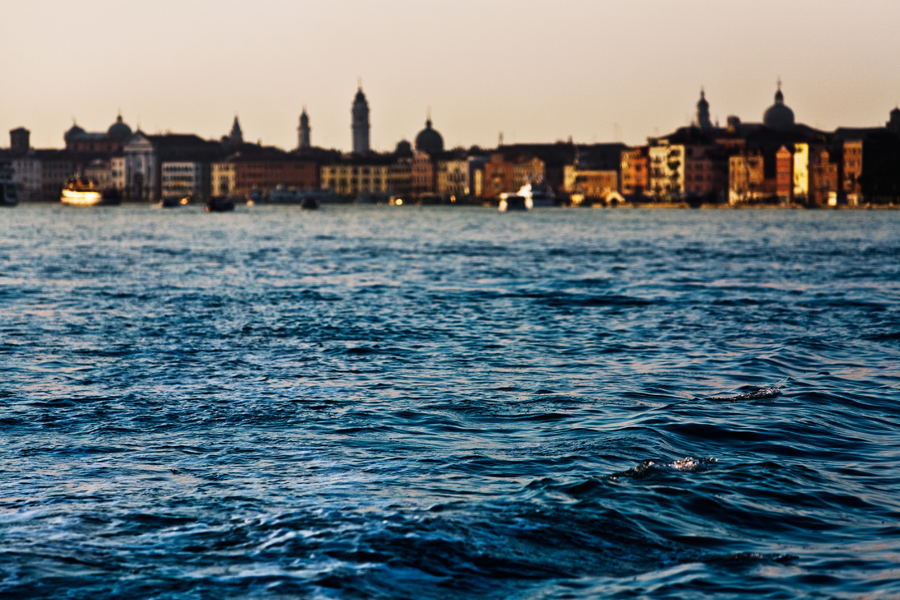 Venice-color landscape photo of Riva degli Schiavoni waterfront at sunset