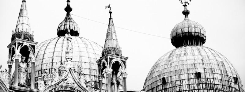 Venice - St. Mark's Basilica domes, black and white photo
