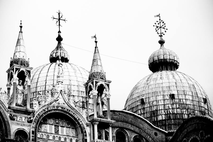 Venice - St. Mark's Basilica domes, black and white photo