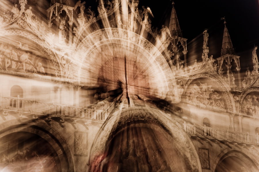 Venice - The facade of St. Mark's Basilica at night, color photo