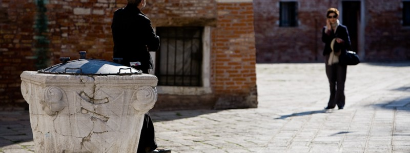Venice, Italy - couple takes a walk in town