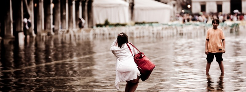 Venice - souvenir photo with high-water in St. Mark's Square, color landscape photo