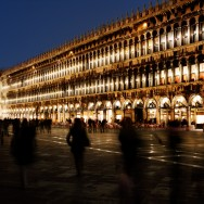 Venice-St. Mark's square at night, color landscape photo