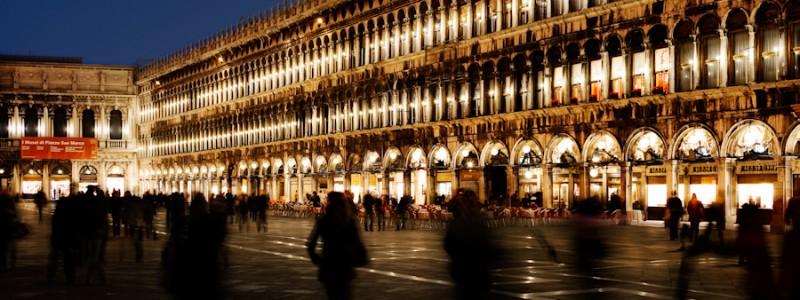 Venice-St. Mark's square at night, color landscape photo