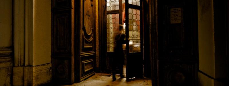 Venice - woman at Church of Gesuati, color landscape photo