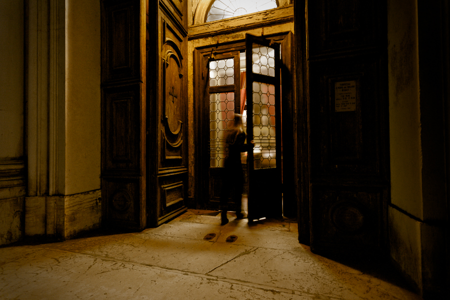 Venice - woman at Church of Gesuati, color landscape photo