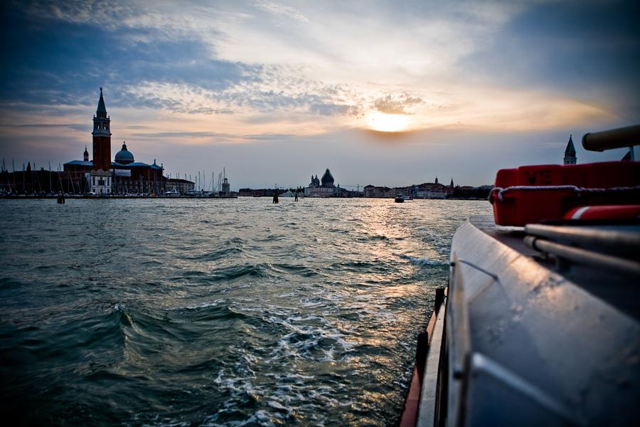 Venice - St. Mark's basin at sunset, color landscape photo