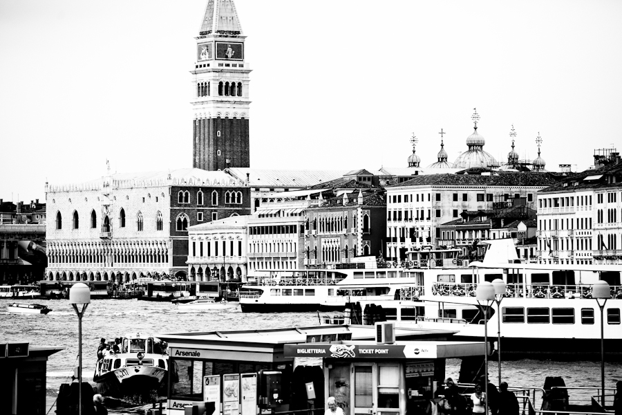 Venice - St. Mark's waterfront with Doge's Palace, black and white landscape photo