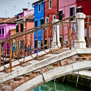 Venice - Bridge and colorful houses of Burano island, color landscape photo