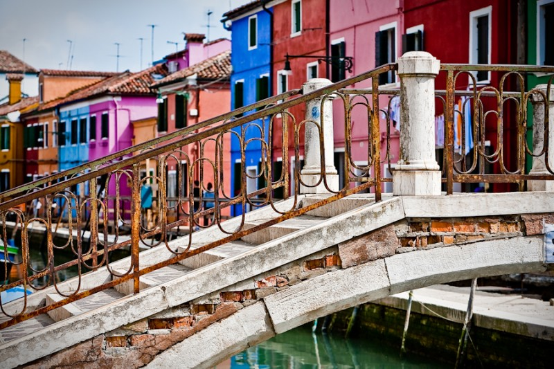 Venice - Bridge and colorful houses of Burano island, color landscape photo