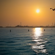 Venice - skyline of Porto Marghera at sunset, color landscape photo