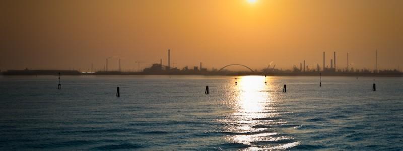 Venice - skyline of Porto Marghera at sunset, color landscape photo