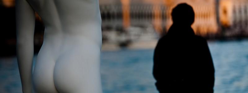 Venice - modern art statue at Punta della Dogana, color landscape photo