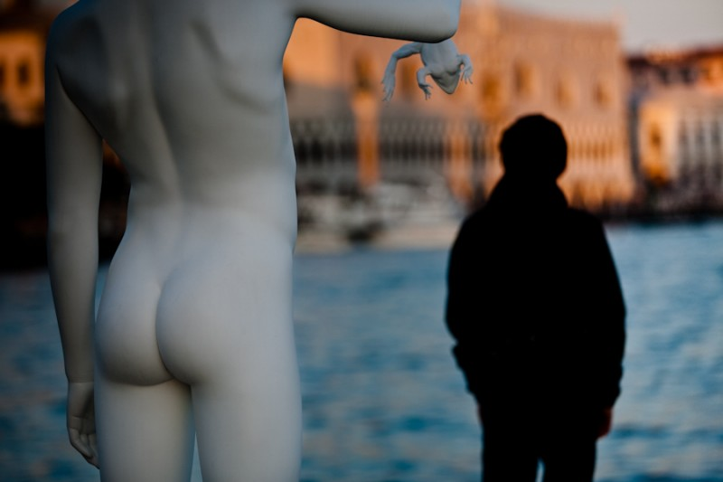 Venice - modern art statue at Punta della Dogana, color landscape photo