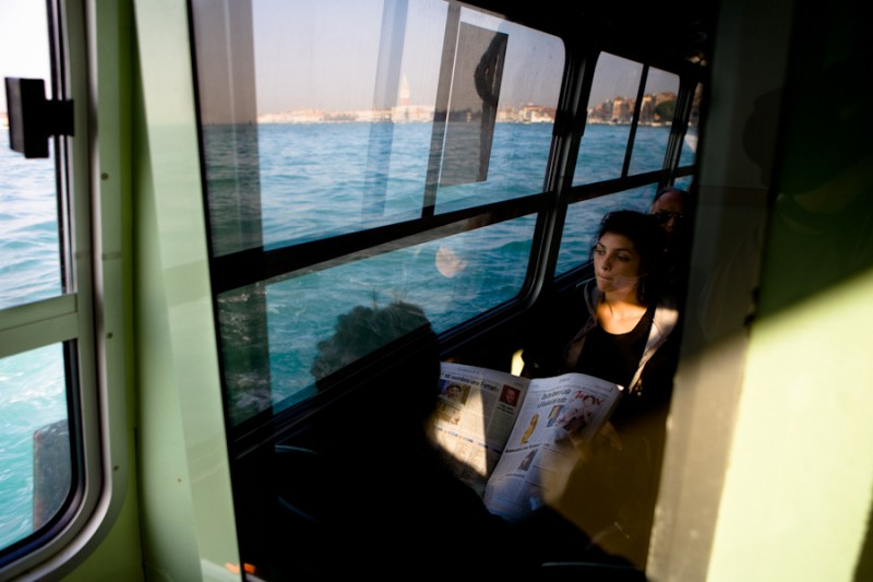 Venice - commuters on board a waterbus in St. Mark's basin, color landscape photo