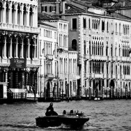 Venice - Grand Canal palaces, black and white landscape photo