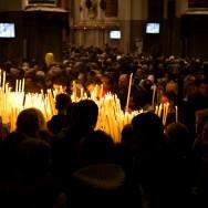 Venice - crowd assembled inside the Church of Salute, color landscape photo