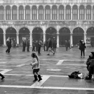 Venice - painter in St. Mark's square, black and white landscape photo
