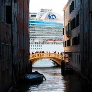 Venice - a cruising vessel enters into Venice harbor, color landscape photo