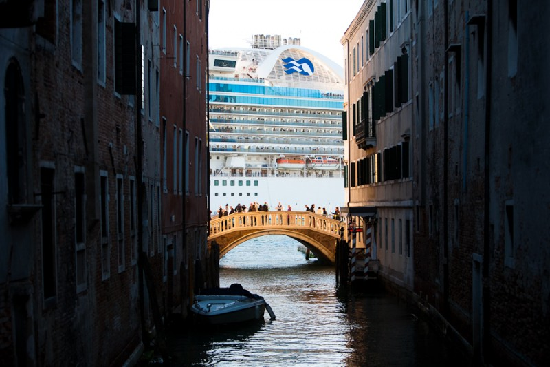 Venice - a cruising vessel enters into Venice harbor, color landscape photo