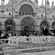 Venice - S. Mark's Basilica facade on a bright late winter morning, black and white landscape photo