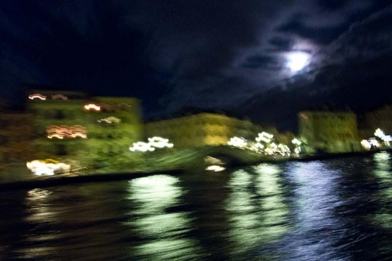 Venice - quay of Riva S. Biagio at night, color landscape photo