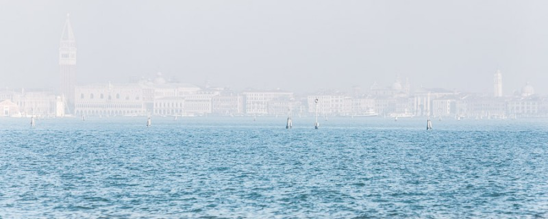 Venice - city skyline in the morning haze, color landscape photo
