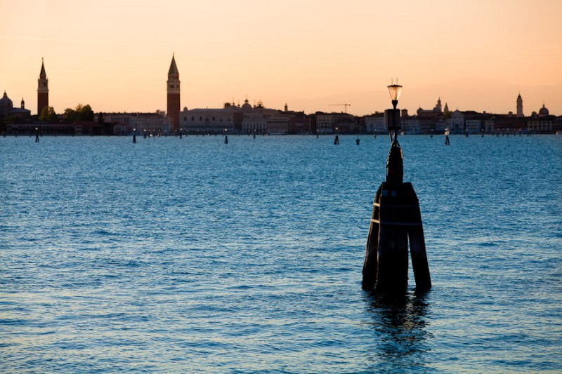Venice - lagoon and St. Mark's basin at sunset, color landscape photo