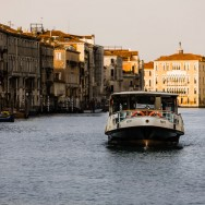 Venice - waterbus in Grand Canal at dawn, color landscape photo