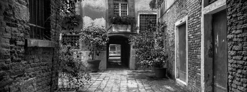 Venice - hidden courtyard near St. Mark's square, black and white landscape picture