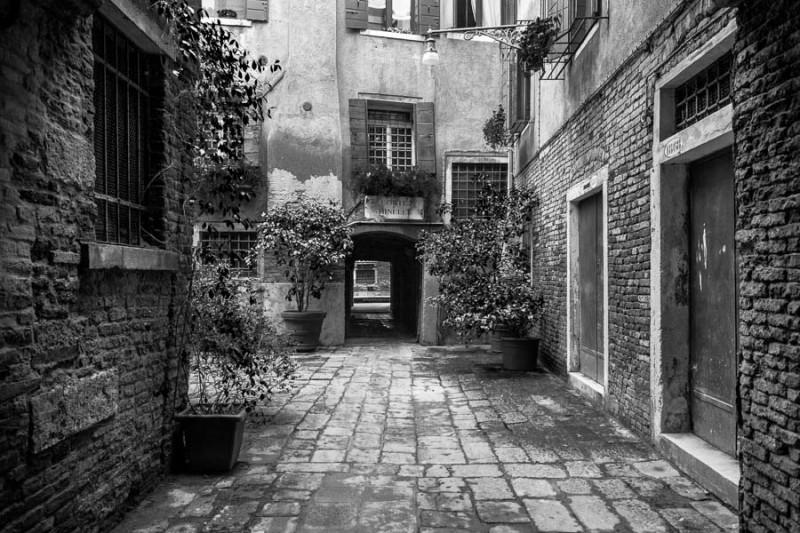 Venice - hidden courtyard near St. Mark's square, black and white landscape picture