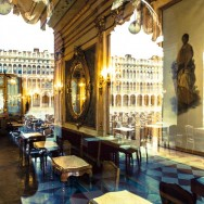 Venice - St. Mark's square reflected on Cafe Florian's windows, clour landscape picture